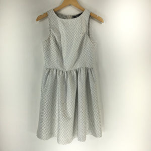 Kensie S White Black Polkadots Fit Flare Dress
